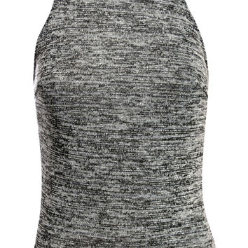 Briley High Neck Metallic Knitted Top in Grey