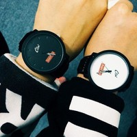 DCCKNQ2 Supreme Fashion Couple Simple Design Korean Watch