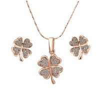 Gold Plated Swarovski Elements Crystal Jewelry Sets Four Leaf Clover Necklace & Earrings