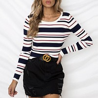 Casual Basic Knitted Sweater O Neck Striped Skinny Elegant Knitwear Pullover Ribbed Jumper