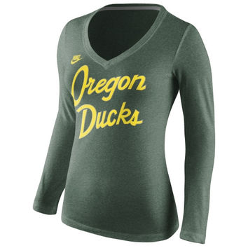 Oregon Ducks Nike Women's Rewind Script Slim Fit Tri-Blend Long Sleeve T-Shirt – Green