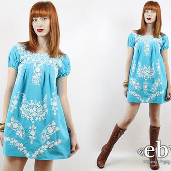 Vintage 70s Blue & White Embroidered Mini Dress XS S Blue Mexican Dress Embroidered Dress Hippie Dress Hippy Dress Boho Dress Festival Dress
