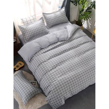 Grid & Plaid Print Bedding Set