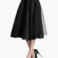 Black Beaded Mesh Overlay Midi Skirt