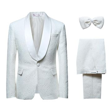 New Men's Suits Formal White Wedding Groom Tuxedo Classic Prom Designer Slim Fit Plus Size 6XL