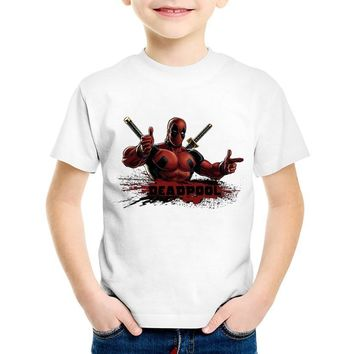 Deadpool Dead pool Taco Anime Print  Children Funny T-shirts Kids Cool Summer Short Sleeve Tees Boys/Girls Casual Great Top Baby Clothing,HKP314 AT_70_6