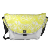 Lemon Yellow and White Floral Print Messenger Bag