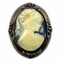 Cameo Brooch Pendant Vintage Pin Black White Celluloid Silver Tone Frame p374