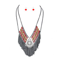Metallic Bead Metal Chain Fringe Bib Necklace