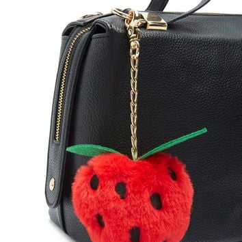 Faux Fur Strawberry Keychain