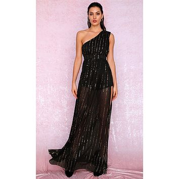 Follow The Feelings Black Gold Sequin Sleeveless One Shoulder Sheer Mesh Side Slit Maxi Dress