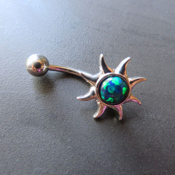 Green Opal Sun Belly Button Ring Navel Piercing Bar Barbell Bellyring