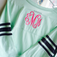 Monogrammed 3/4 length sleeve Mint/Grey jersey Font shown INTERLOCKING in bright pink