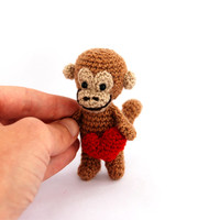 minature monkey, tiny crocheted animal, mini monkey, kawaii collectible animal, brown red heart, summer gift, dollhouse, crochet art animal