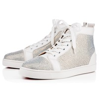Best Online Sale Christian Louboutin Cl Louis Strass Men's Flat Version Edelweiss Strass Classic Shoes 3150231m275