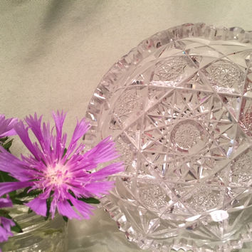 Set of 3 Crystal Cut Glass Candy Dishes