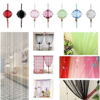 Tassel Curtain Crystal Beads Tassel Silk String Curtain Window Divider Sheer Curtains Valance Door Windows Panel Curtain