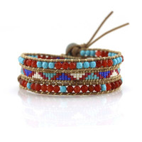 Turquoise and Red Crystals with Miyuki Glass Seed Beads on Natural Leather