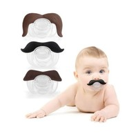 Funny Moustache Dummy Dummies Pacifier Novelty Baby Child Soother Maternity Joke