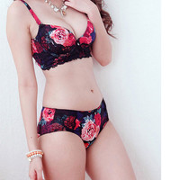 Romantic Floral Lace Trim Bra & Panty Set