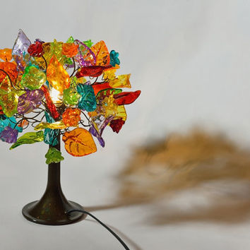 Table light - multicolored flowers and leaves, table lamp.