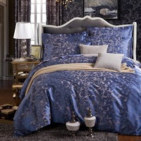 European bedding set jacquard luxury stain bed set  bed cover spring sheet 4pcs/set Queen king duvet set cover bed bedclothes