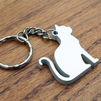 Cat Lady - Metal Keychain