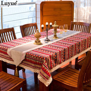 Bohemian style quality cotton &linen lacework dining tablecloth multi functional table cloth for party picnic outdoor