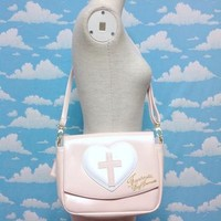 Heart Cross Shoulder Bag in Pink from SWIMMER
