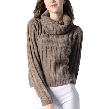 [15677] Cowl Neck Wide Rib Knit Sweater