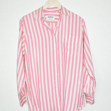 L1-13 Aspesi Basic Whtie Pink Candy Stripe Long sleeve Button Down Casual work Silk Blouse Top Sz Medium - X-Large