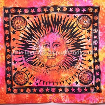 Psychedelic Celestial Tapestry-Wall-Beach, Sun-Moon-Stars Tapestry, Indian tapestry, Bohemian Wall Hanging, Wall Art, Hippie Decor Tapestry