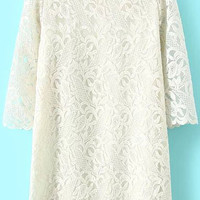 White Floral High Neckline Long Sleeve Scallop Trim Shift Dress