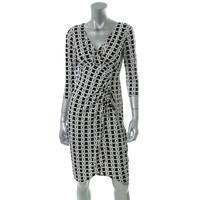 London Times Womens Printed Ruched Wear to Work Dress