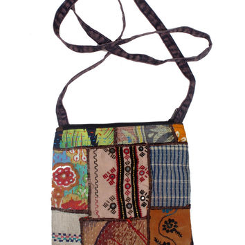Vintage Clothing Patch Bag-Handmade by Fair Trade Artisans-No Two Alike!