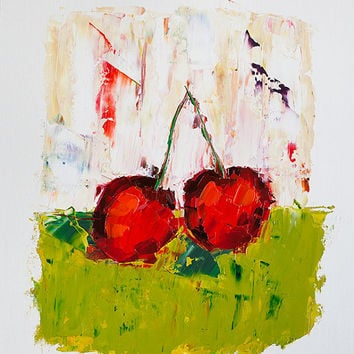 Cherry Painting - Palette Knife - Original Kitchen Art - Colorful Still Life Painting - Impasto Painting - Small Wall Art