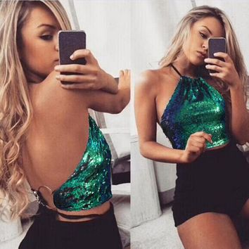New Fashion Women Backless Sexy Tank Sequin Tops Bustier Vest Crop Top Bralette Blouse Sling Vest Beach Party Night Club Wear