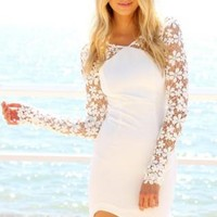 White Dress with Sheer Long Floral Crochet Sleeves