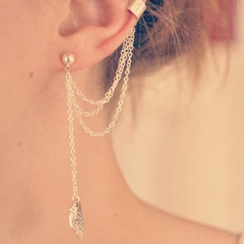 Simple Leaf Ear Cuff With Chains  A2  by basicjewellerysuppli