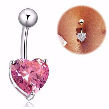 ac PEAPO2Q KISS WIFE 2016 New Hot Silver Gold Navel Belly Button Ring Rhinestone Bar Heart Star Belly Piercing Body Jewelry Free shipping