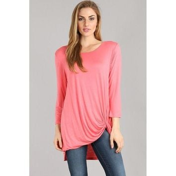 3/4 Sleeve Twist Hem Tunic