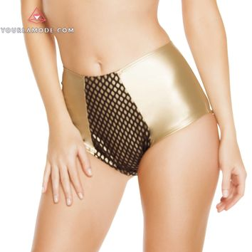 Gold Black High-Waisted Leatherette Shorts with Fishnet Detail