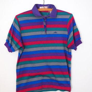 Vintage Retro 80s Chic by h.i.s Striped Polo Shirt Soft Cotton T Shirt Size Medium Bea
