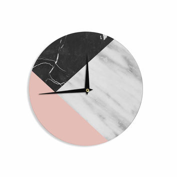 "Cafelab ""Marble Collage With Pale Pink ""  Gray Pink Wall Clock"