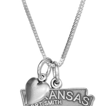 """Sterling Silver Necklace:  18"""" Arkansas State Pendant Necklace With Heart Charm"""
