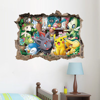 Cartoon Game Pikachu Pokemon Go Wall Stickers For Kids Rooms Children's Gift Wall Decals Poster Nursery Room Decoration Mural SM6