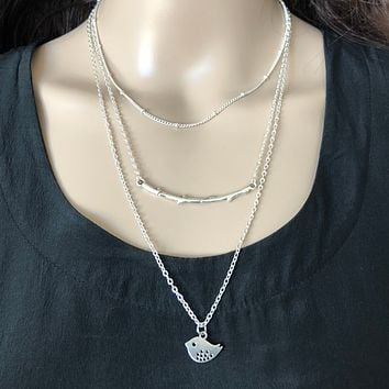 Layered Branch and Dove Silver Necklace