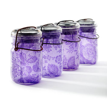 solar light mason jars vintage atlas & ball glass top  .. handmade : pint size decoupage - set of four purple lace wedding decor