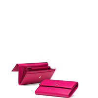 Swing Leather Continental Wallet, Fuchsia - Gucci