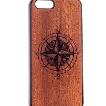 Compass from Mahogany - iPhone 5/5S Wood Cover - Unique iPhone wood case -FREE WORLDWIDE SHIPPING!Handmade in Europe!